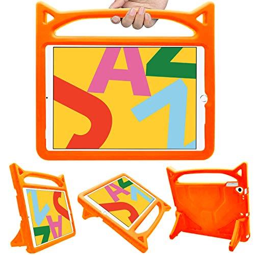HBorna iPad 10.2 Case Kids, iPad 7th Generation Case Kid, Shockproof Light Weight Handle Friendly Stand Kids Case for New iPad 10.2' 2019, iPad Air 3, iPad Pro 10.5 (Orange)