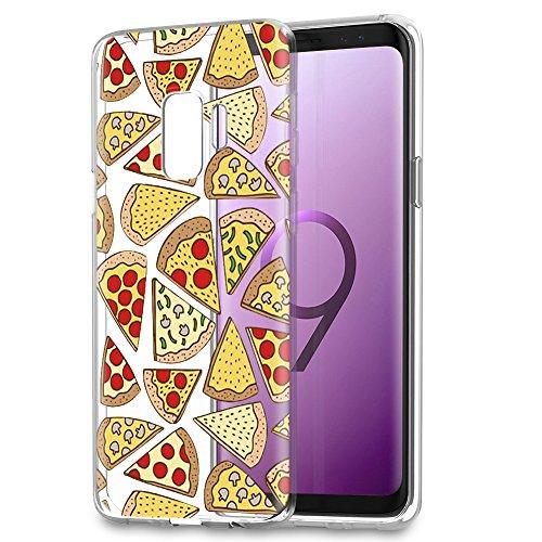 Eouine Cover Samsung Galaxy S9, Custodia Cover Silicone Trasparente con Disegni Ultra Slim TPU Silicone Morbido Antiurto 3D Cartoon Bumper Case per Samsung Galaxy S9 (Pizza)