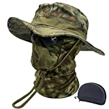 Fishing Hat Boonie Hat Camo Balaclava Neck Glasses Set for Outdoor Sport Unisex (MR)