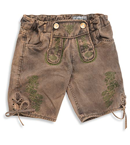 Schöneberger Trachten Couture Trachtenhose Kinder Vintage Lederhose - Bund flexibel einstellbar - robute Trachtenhose -100% Baumwolle - Maxi (158, Braun)