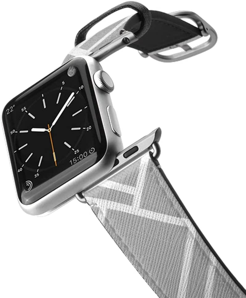 Casetify Bands Compatible for Apple Watch Bands 38mm 42mm with Silver Stainless Steel Buckle Replacement Band for iWatch Apple Watch Series 4 Series 3 Series 2 Series 1 (Grey Map Outline)