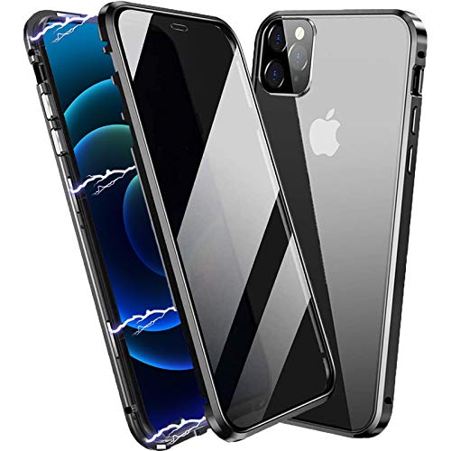 ACCREW Privacy Magnetic Case Compatible with iPhone 12 Pro Max, Anti Peep Magnetic Adsorption Privacy Screen Protector Double Sided Tempered Glass Metal Bumper Frame Anti Peeping Anti-Spy Phone Case