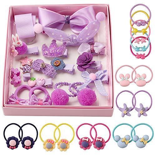 Seatecks Fille Pinces À Cheveux 35 Pièces Bébé Pince à Cheveux Set Accessoires Cheveux Jolie Partie Bowknot Fleur Multi-Style Ruban En Épingle À Cheveux pour Petites Filles Bébé Enfants-Violet
