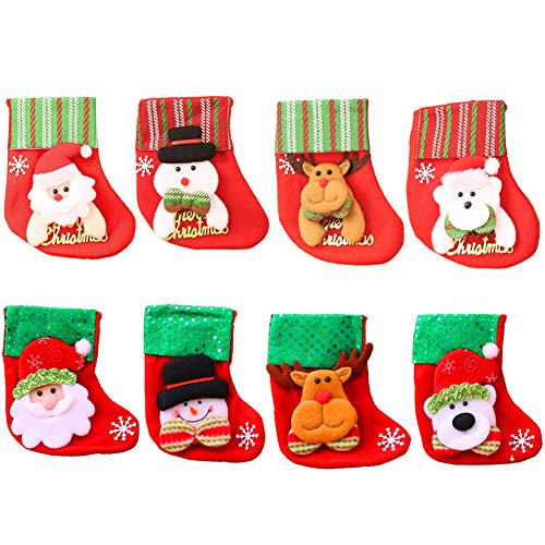 INTVN 8 PCS Mini Medias de Navidad Adorno Calcetin Almacenamiento Bolsa de Regalo para árbol de Navidad...