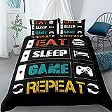 Gaming Bed Comforter Cover Set Full ,Gamer Bedding Sets for Boys Kids, Eat Sleep Game Repeat Design Duvet Cover Set ,3 Pieces Microfiber Game Bed Set (1Duvet Cover +2Pillowcases)