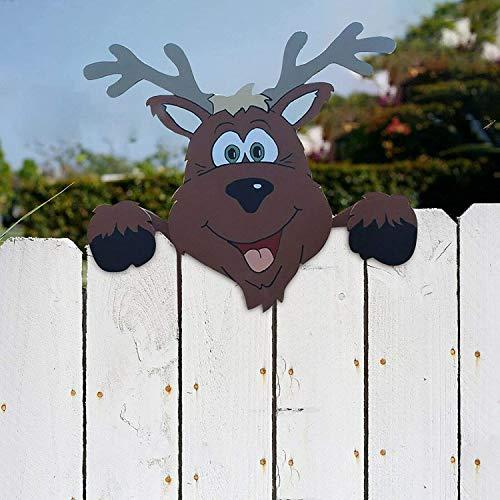 Weihnachtsmotiv Zaun und Garten Peeker, charmante Weihnachten Home Decor Peeks auf Santa Claus und Elch Geeignet für Home Outdoor Rasen Weg Parkplatz Zaun Dekorationen (Elch)