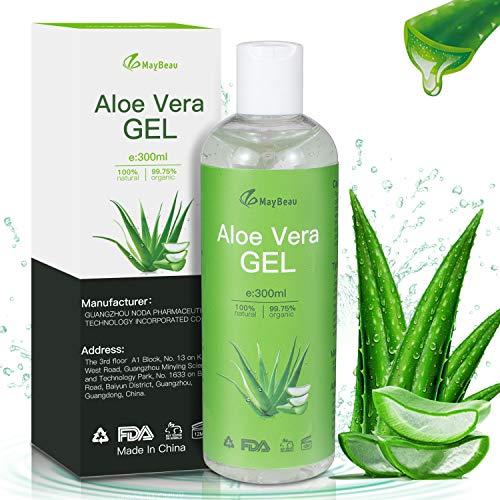 Aloe Vera Gel 300ml MayBeau Bio Aloe Vera Creme für Trockene Strapazierte Haut & Sonnenbrand Natürliche Feuchtigkeitspflege für Gesicht Haare und Körper