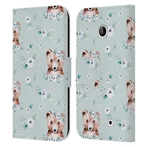 Head Case Designs Licenza Ufficiale Kristina Kvilis Blu Verde Animali da Foresta Cover in Pelle a Portafoglio Compatibile con Nokia Lumia 630