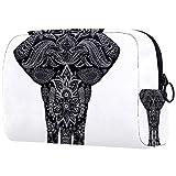ATOMO Bolsa de maquillaje, bolsa de viaje de moda, neceser grande, organizador de maquillaje para mujeres, impresionante animal tribu elefante