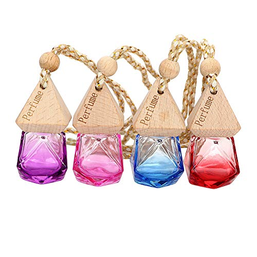 LNWSXB Auto Parfum Fles voor Essentiële Oliën Opknoping Glas Fles Parfum Hanger Auto Ornament Luchtverfrisser Paars