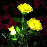 Rose Blume Solarleuchte Outdoor Spazierweg Garten Dekoration Leuchte Solar Blumen Garten Pfahllichter Pefekt Für Terrasse Hof Weihnachten Pfad Dekro (Gelbe Rose, 1 PC)