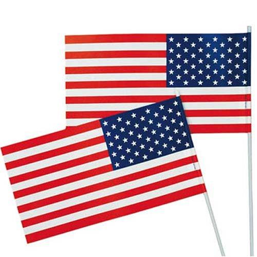Länderdeko Qualitäts Fähnchen USA ca. 12 x 23 cm, 40-cm-Holzstab, 10er-Pack