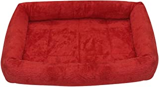 Mellifluous Small Size Dog and Cat Fur Pet Bed, Red