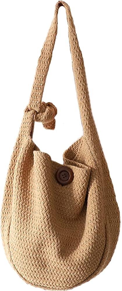 HUALEENA Women Cotton Crochet Handbag Top-handle Bag Summer Beach Tote Hobo Bag for Girl