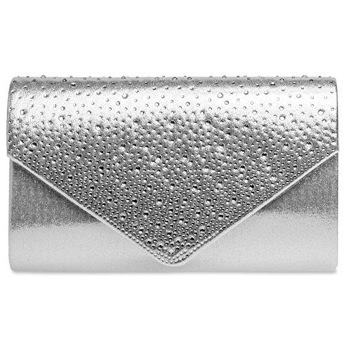 Caspar TA423 elegante Damen Envelope Clutch Tasche Abendtasche mit Strass Dekor, Farbe:silber, Größe:One Size