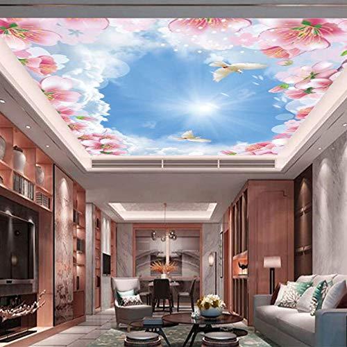Moderne minimalistische 3D-Deckentapete großes Wandbild blauer Himmel weiße Wolken Wohnzimmer Schlafzimmerdecke Vlies-Tapete-250x175cm