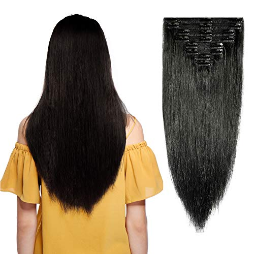 Double Weft Clip in 100% Remy Human Hair Extensions #1 Jet Black 10-22 Grade 7A Quality Full Head Thick Thickened Long Soft Silky Straight 8pcs 18clips for Women Fashion 18 / 18 inch 140g