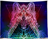 Amiiba Tapiz de pared colorido hombre lobo terror psicodélico tapiz colgante de pared hippie Halloween decoración del hogar para dormitorio sala de estar (Wolf, M - 149 x 129,5 cm)