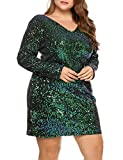 IN'VOLAND Womens Sequin Dress Plus Size V Neck Party Cocktail Sparkle Glitter Evening Stretchy Mini Bodycon Dresses Green