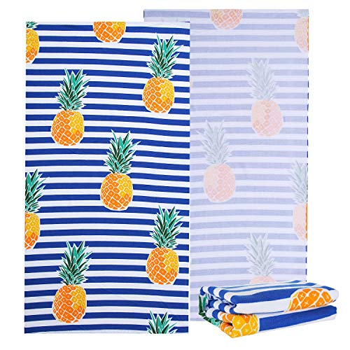 NovForth Microfiber Beach Towel for Women, Outdoors Pool Beach Towels for Gril, Oversized Classic Towels Pineapple 30 x 61 , Cabana Stripe Quick Dry Absorbent (Blue Pineapple, 30  x 61 )
