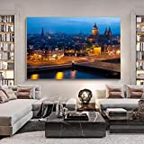 Lienzo decorativo para pared, diseño de paisaje urbano de Ámsterdam, 60 x 80 cm