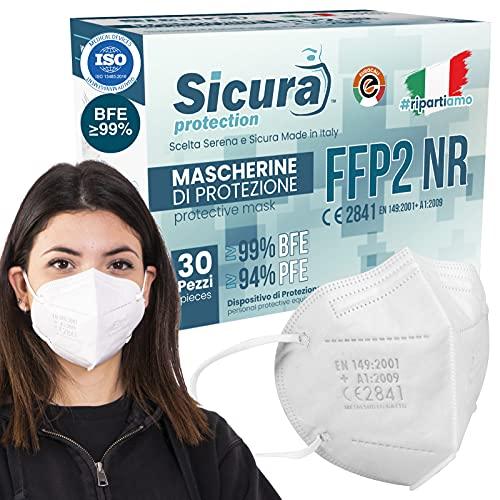 30 Mascherine FFP2 Certificate CE Made in Italy Bianche e logo SICURA impresso BFE ≥99% Mascherina ffp2 italiana SANIFICATA e sigillata singolarmente. Pluri certificata ISO 13485 e ISO 9001