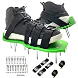 PATILWON Lawn Aerator Spike Shoes with 4 Heavy Duty Metal Buckle Adjustable Straps Spike Shoes, Ventilated Shoes for Soil Breathe, One Size Fits All