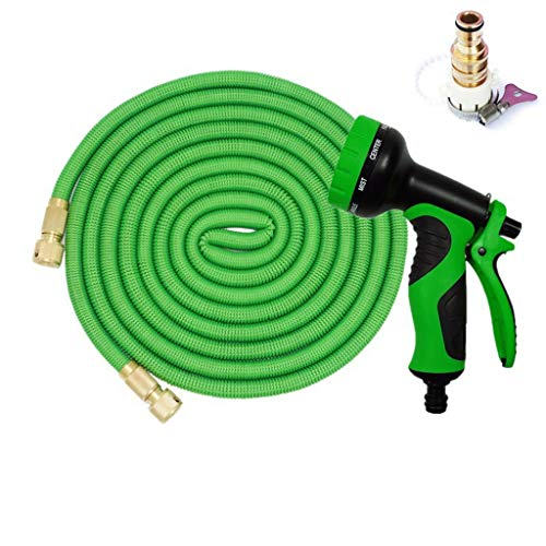 WXFQX Extensible Tuyau d'arrosage, 3/4 « Raccords en laiton massif, Kink sans, antifuite tuyau d'arrosage, y compris 10 Buse fonctionnelle 4 tailles (Size : 15M after 5M water injection)