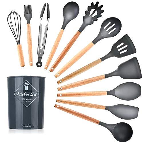 Utensilios de cocina pastel 12 piezas de silicona espátula, espátula para sopa, servidor de pasta, batidor de huevos, utensilios de cocina, utensilios de cocina de porcelana (color: negro)