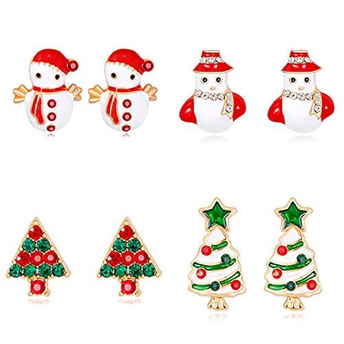 Jia Hu 4 pares de pendientes de Navidad adornos de árbol de Navidad Santa Claus muñeco de nieve campanilla pendientes adornos de Navidad