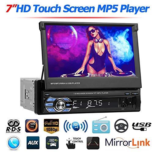 1 DIN Auto Stereo Bluetooth, 7 Zoll Touchscreen Auto Multimedia MP5 Player Unterstützung SD/USB/AUX, RDS AM FM Radio GPS Navigation Versenkbarer Bildschirm USB Bluetooth Empfänger 9601