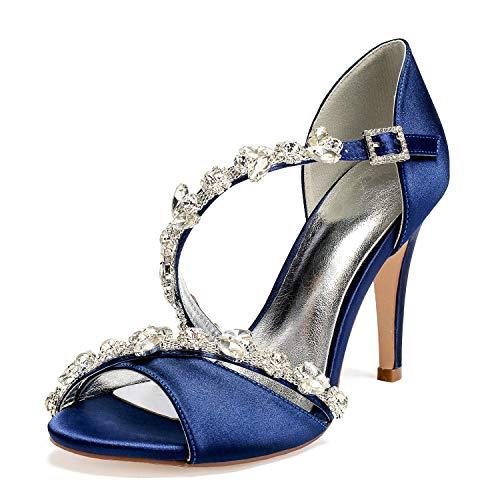 L@YC De Mujer Sandalias Tacón Acampanado Super Satén Zapatos De Baile Latino,Dark blue,36