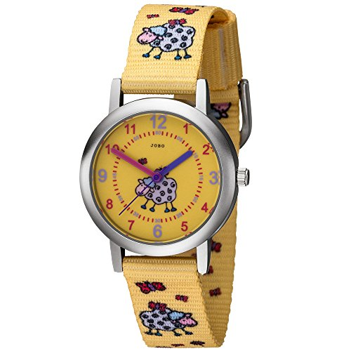 JOBO Kinder Armbanduhr Schaf Schäfchen gelb Quarz Analog Kinderuhr