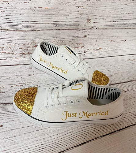 Wedding Reception Shoes Sneakers White Canvas Bride Bridal Photography Props Shower Gift Personalized Glitter Shoes Bling