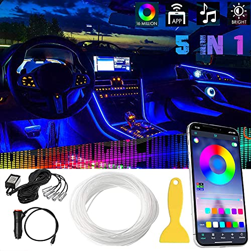 Car LED Strip Lights, Multicolor RGB Car Interior Lights, 16 Million Colors 5 in 1 with 236 inches Fiber Optic, RGB Ambient Lighting Kits,Sound Active Function and Wireless Bluetooth APP Control
