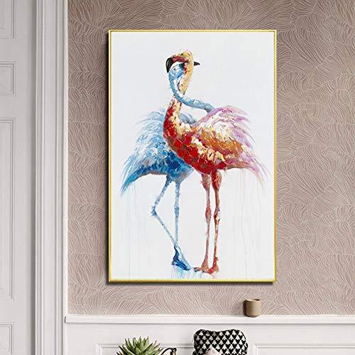 wZUN Lienzo Pintura Flamingo Animal Amor Imagen Sala de Estar Mural decoración Pintura y Cartel 60x90 Sin Marco