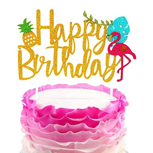 JeVenis Glitter Flamingo Cake Toppers Flamingo Alles Gute zum Geburtstag Kuchen Dekoration Tropical Hawaiian Luau Themed Party Supplies