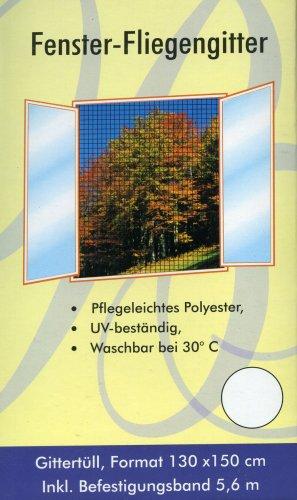 Fenster-Fliegengitter 130 cm x 150 cm, waschbar, inklusive Befestigungsband, Farbe: Weiss