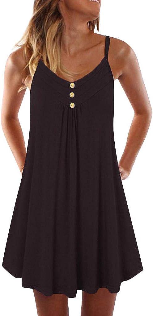 ONHUON Mini Dresses for Women,Women's Solid Color Sleeveless Short Dresses Summer Casual Sundress Sexy Beach Party Dress