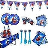 Nesloonp 88pcs Kit Decorazioni Spiderman, Marvel Avengers Spiderman Assemble Party Servizio da tavola Piatti Tovaglioli, Kit Completo di Forniture per Feste da Supereroi