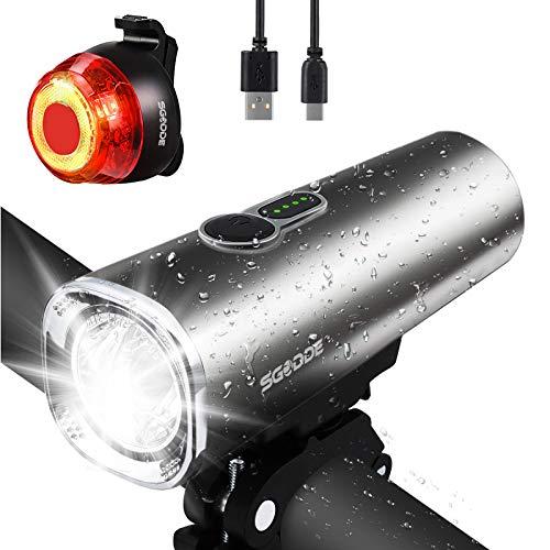 SGODDE LED Fahrradlicht Set, StVZO 600 Lumen Fahrradlampe Fahrradbeleuchtung USB Wiederaufladbare IPX5 wasserdichte Beleuchtung, Superhelle Frontlicht und Rücklicht Rotlicht 2600mAh Licht für Fahrrad