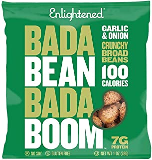 Enlightened Bada Bean Bada Boom Plant-based Protein, Gluten Free, Vegan, Non-GMO, Soy Free, Kosher, Roasted Broad Fava Bean Snacks, Garlic & Onion, 1 Ounce (24 Count)