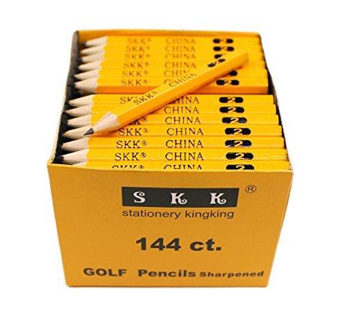 SKKSTATIONERY Golf Pencil, Half Pencils,3.5' Pencils, 2 HB pencil, Hexagon, Sharpened, 144/box.