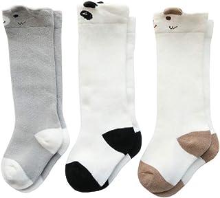Hankyky, 3 par/set calcetines de niña 12-24 meses, medias de malla antideslizantes calcetines de dibujos animados para niños calentadores de piernas