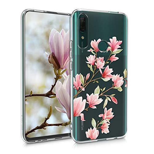 kwmobile Hülle kompatibel mit Huawei P Smart Z - Hülle Silikon transparent Magnolien Rosa Weiß Transparent