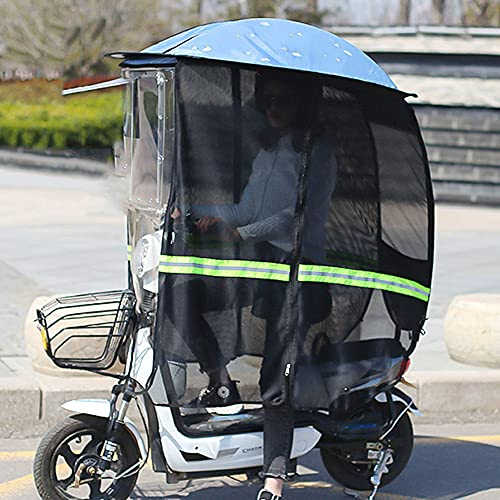 ZWJABYY Paraguas Scooter,Cubierta Impermeable A La Lluvia para Scooter De Movilidad,Cubierta para Sombrilla para Capota De BateríA para AutomóVil,Visera Impermeable para El Sol,Skyblue-B