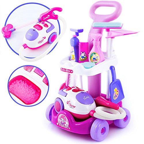 Kinderplay Putzwagen mit Staubsauger PINK Reinigungswagen KP2873 Spielzeug Spiel NEU …