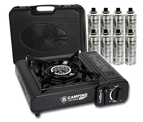 Hornillo de gas en maletín con placa de seguridad, hornillo de camping en negro o azul + cartuchos de gas butano (hornillo de gas + placa de barbacoa).