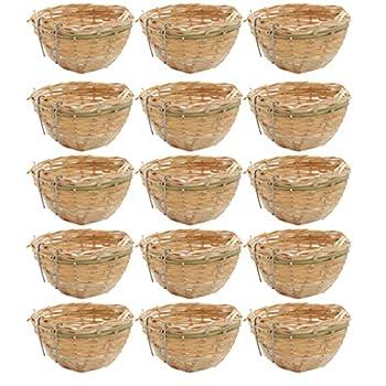 Baoblaze 15x Fait Main en Bambou en Osier en Osier pour Canari Petit Nid D'oiseau pour La Suspension De La Cage