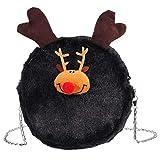 KESYOO Bolso de Piel Sintética de Navidad Bolso de Cadena de Alce Hombro Bolsos de Noche Vintage Monedero Bolso de Mensajero de Princesa Negro